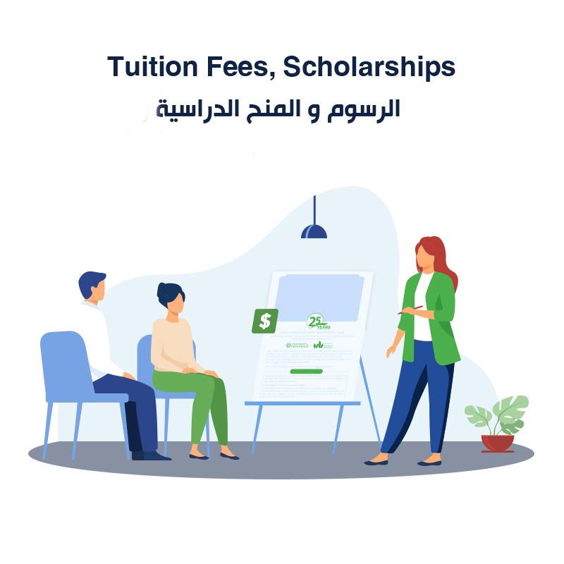 Tuition fees, <strong>Scholarships</strong> & <strong>Minimum score</strong><br /> الرسوم والمنح الدراسية والحد الأدنى للتقديم