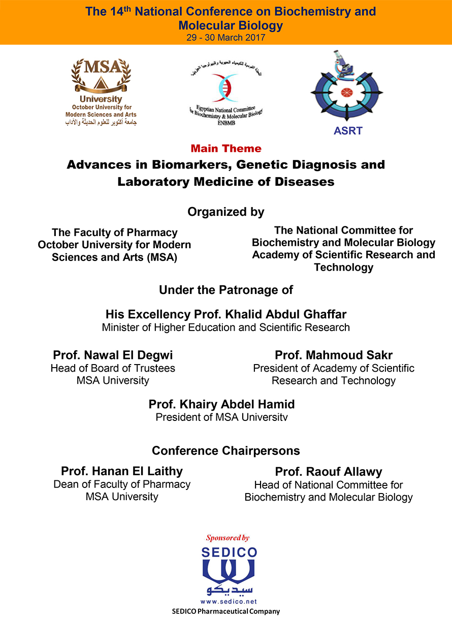 MSA University - 14th National Conference on Biochemistry and Molecular Biology