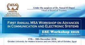 1st MSA International Workshop on Communications & Electronics